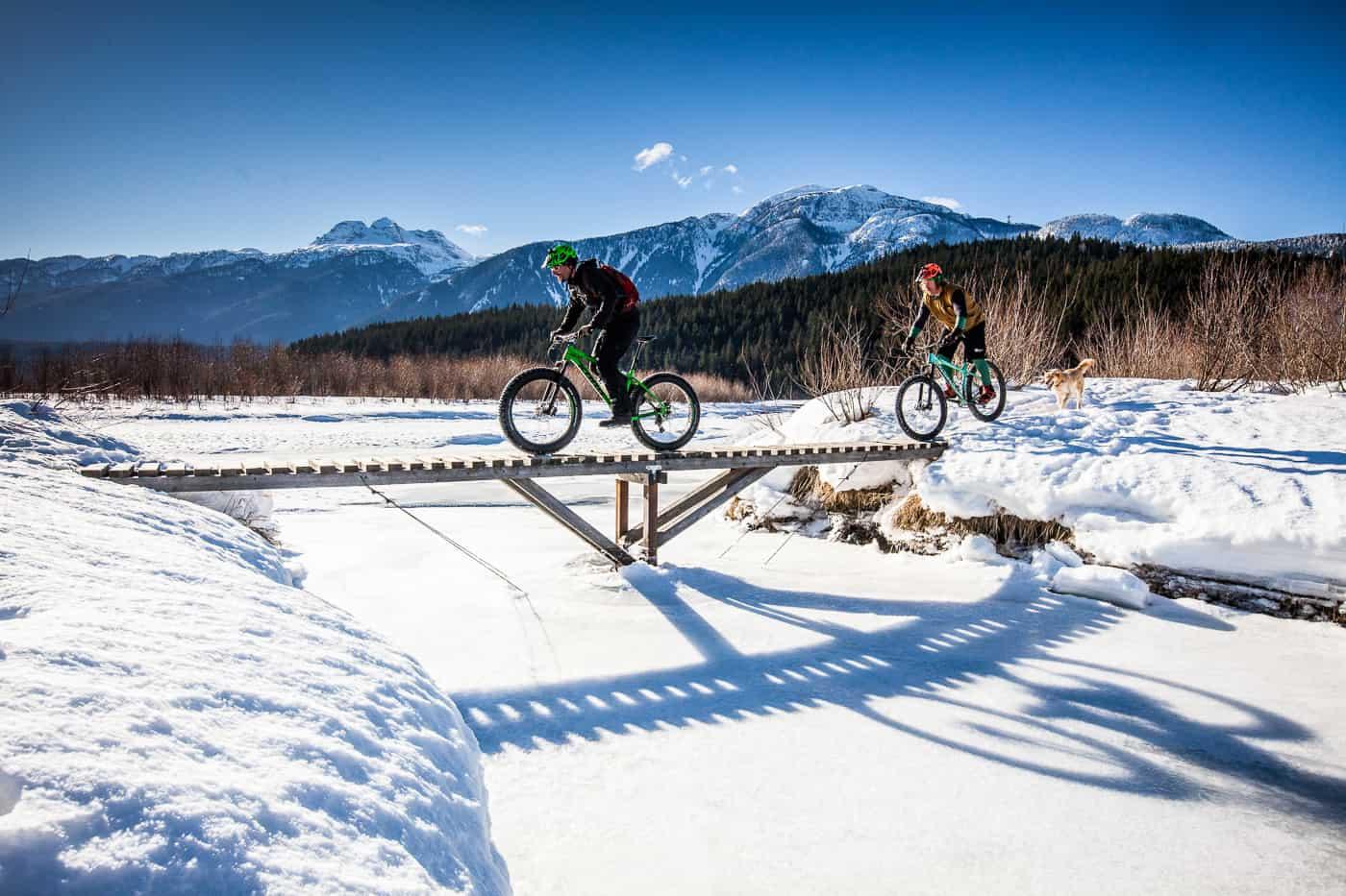 Fat biking on Revelstoke Greenbelt