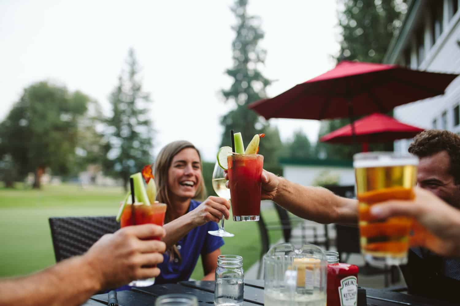Enjoying beverages at the Revelstoke Golf Club