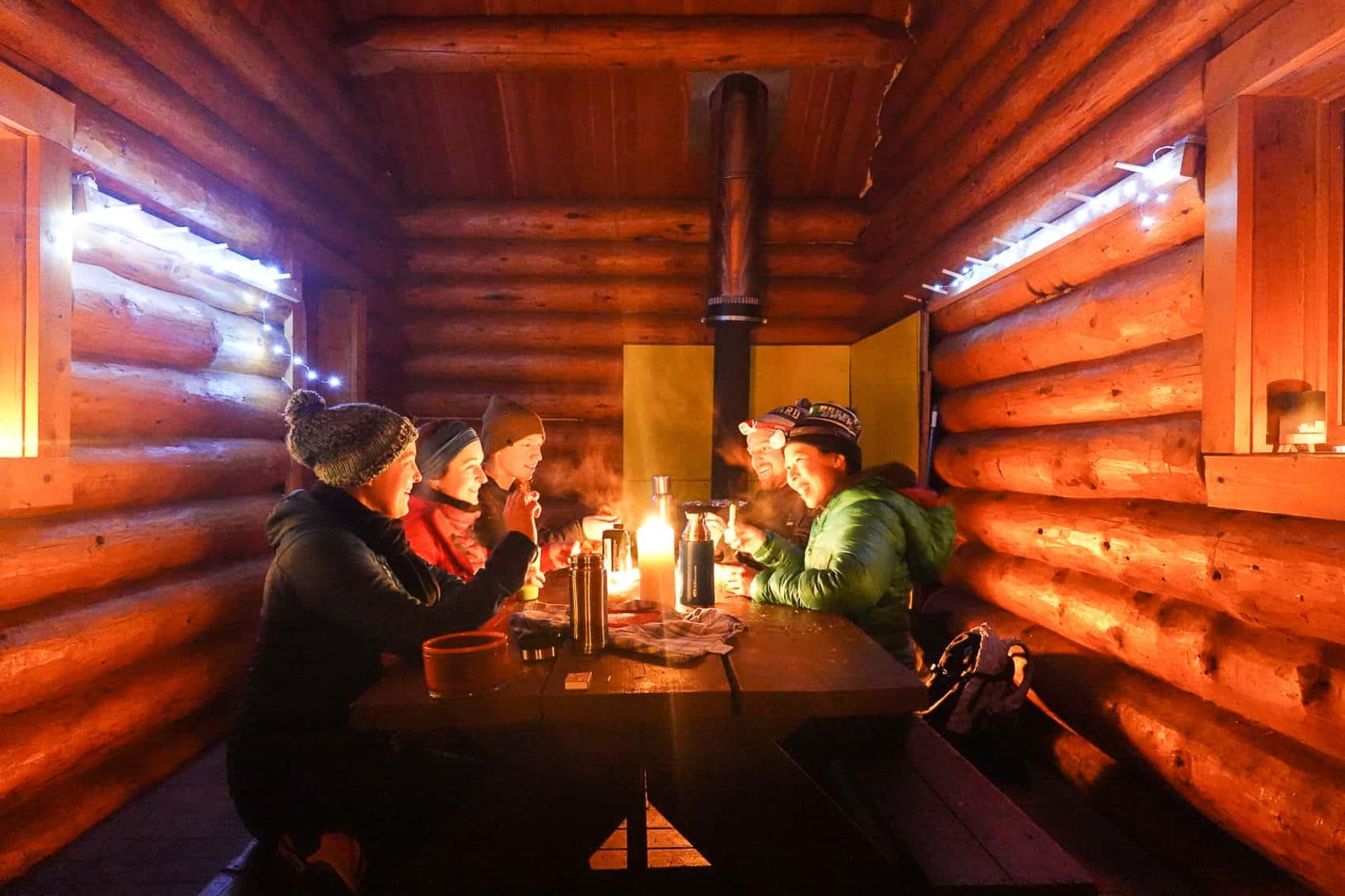 Pot luck in the Ole Sandberg Cabin Revelstoke Nordic