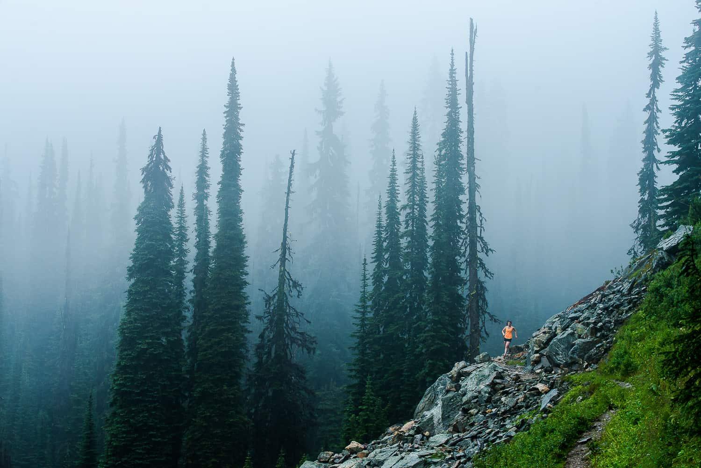 Misty trail running Mount Revelstoke National Park